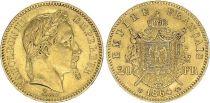 France 20 Francs Napoleon III - 1864 BB Strasbourg - Gold
