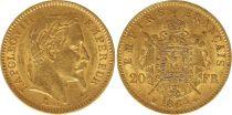 France 20 Francs Napoléon III Tête Laurée - 1864 BB Strasbourg