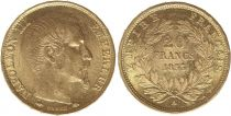 France 20 Francs Napoléon III Tete nue - 1853 A Paris Or
