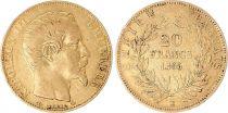 France 20 Francs Napoléon III Tête nue - 1855 BB Strasbourg - Chien-abeille - Rare