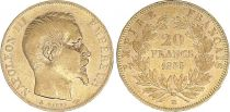France 20 Francs Napoléon III Tête nue - 1855 BB Strasbourg - Or