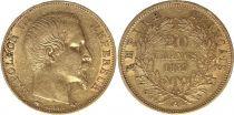 France 20 Francs Napoleon III Tete nue - 1857 A Paris - Or