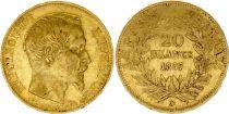 France 20 Francs Napoleon III Tete nue - 1857 A Paris