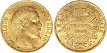 France 20 Francs Napoléon III Tete nue - 1860 BB Strasbourg Or