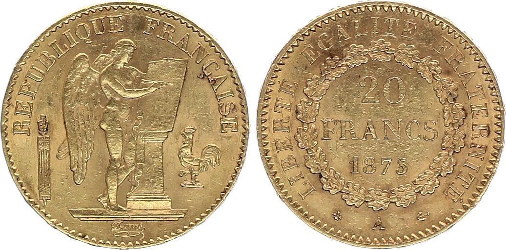 France 20 Francs Or Génie - 1875 A Paris