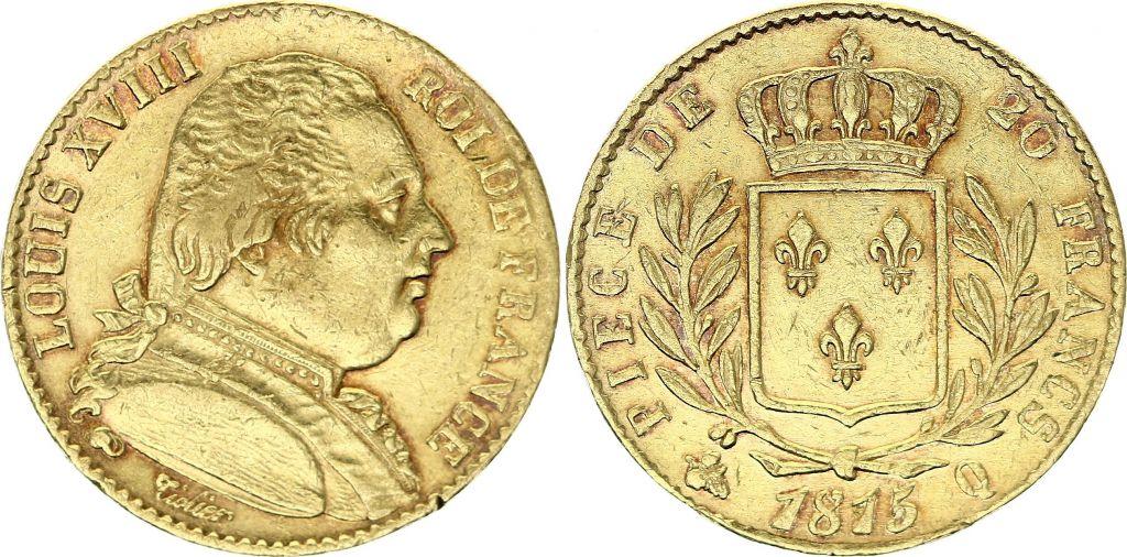 France 20 Francs Or Louis XVIII - 1815 Q variété 5/4