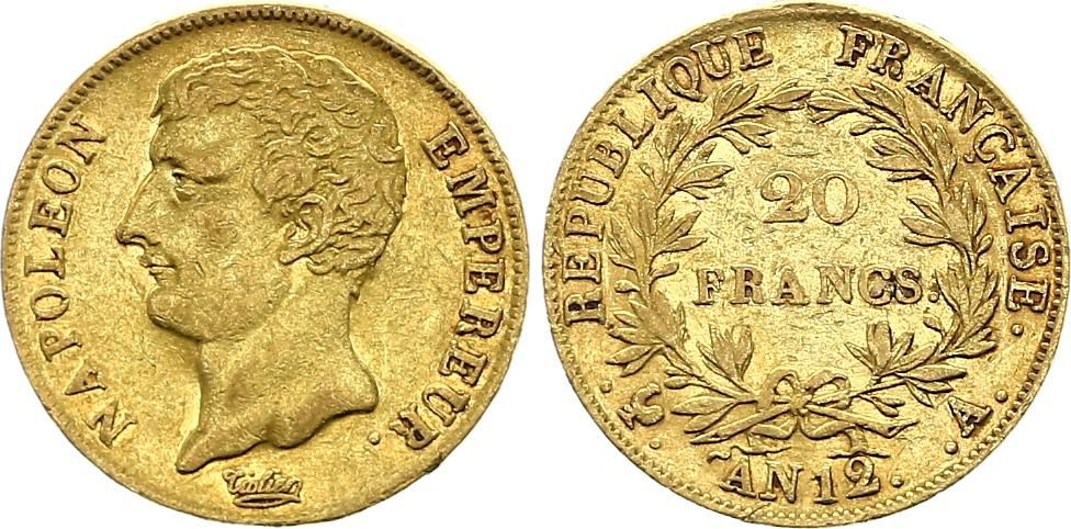 France 20 Francs Or Napoléon Empereur - An 12 A Paris