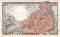 France 20 Francs Pêcheur - 07-10-1943 Série A.91 - TB+