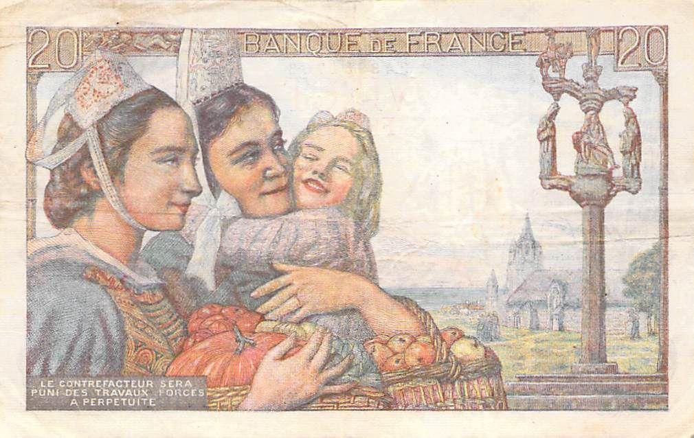 France 20 Francs Pêcheur - 07-10-1943 Série P.100 - TB+