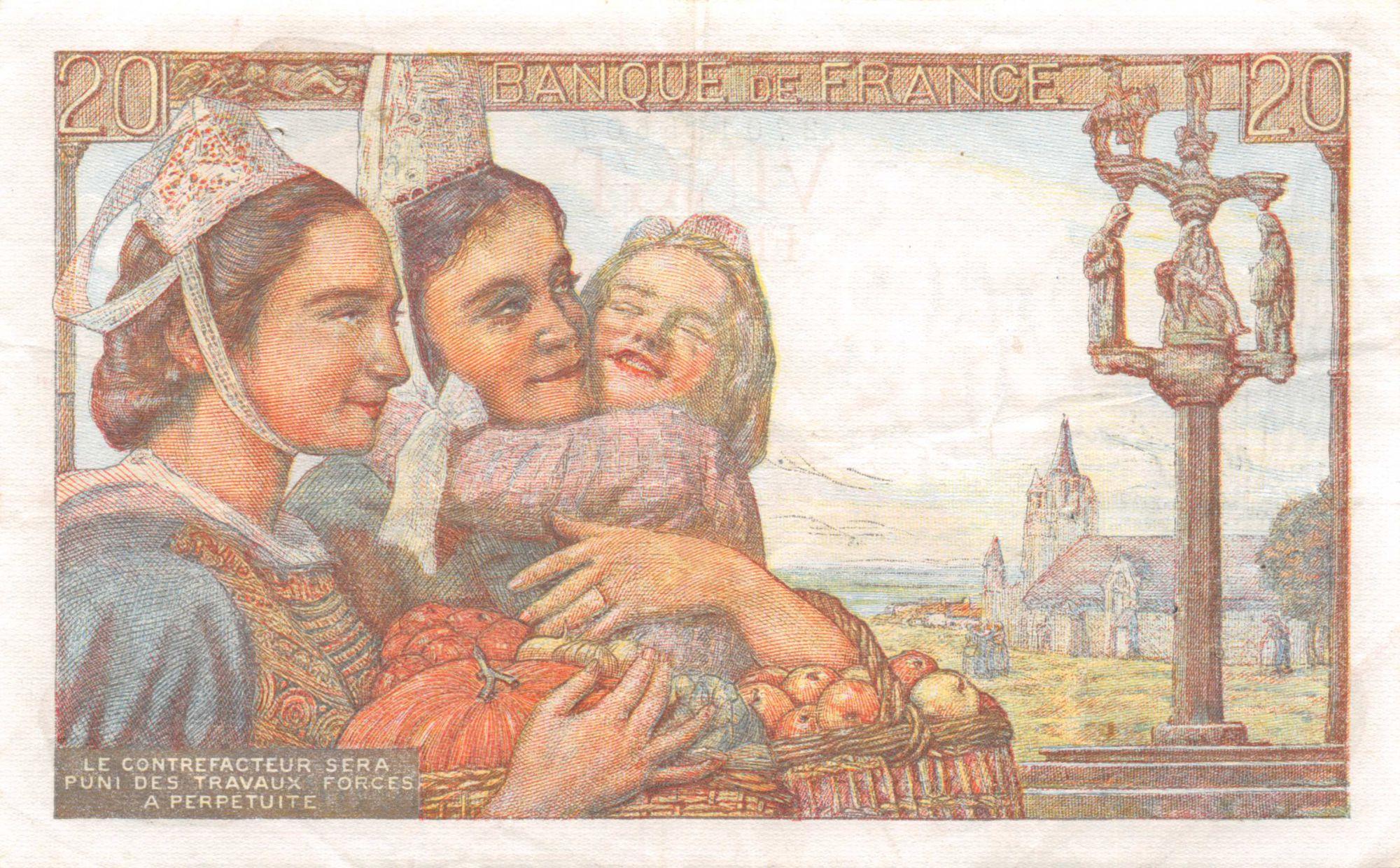 France 20 Francs Pêcheur - 10-02-1944 Série B.109 - TTB+