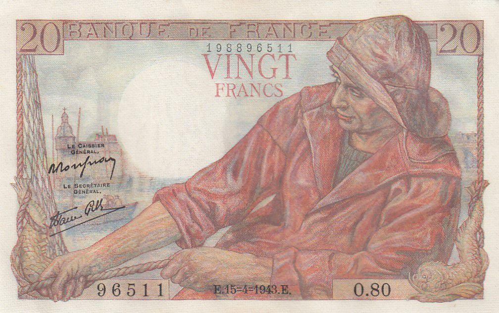 France 20 Francs Pêcheur - 15-04-1943 Série O.80 - P.Neuf