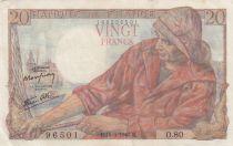France 20 Francs Pêcheur - 15-04-1943 Série O.80 - TTB+
