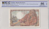 France 20 Francs Pêcheur - 17-05-1944 Série N.129 - PCGS 66 OPQ