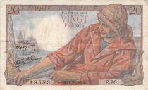 France 20 Francs Pêcheur - 21-05-1942 Série E.20 - TB