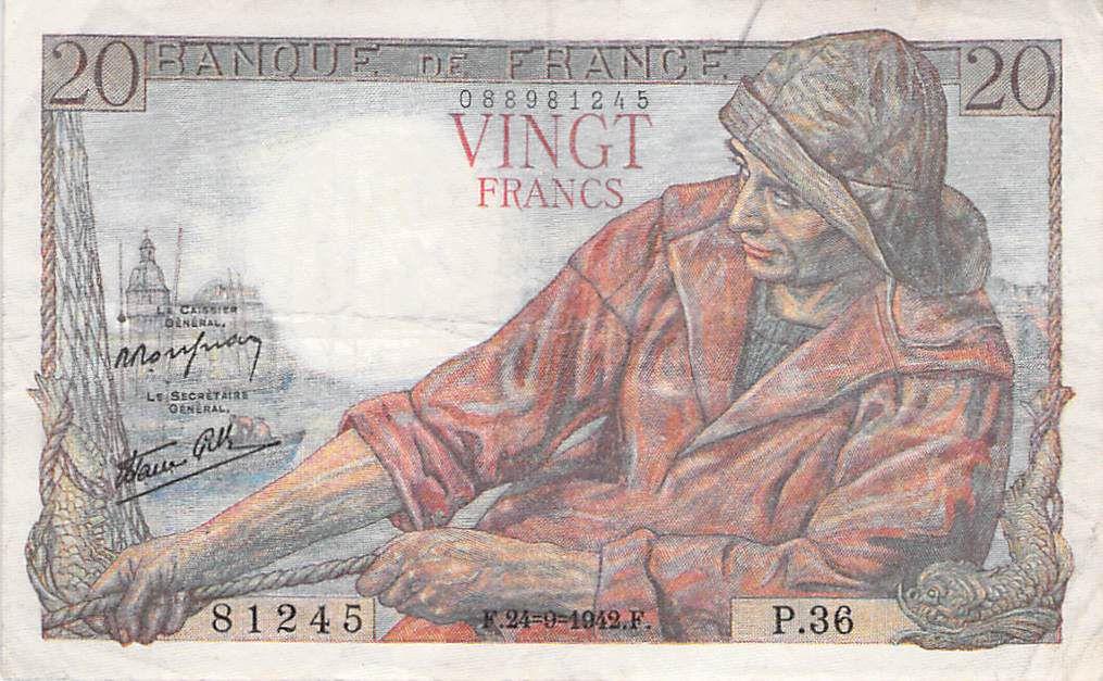 France 20 Francs Pêcheur - 24-09-1942 Série P.36 - TB+