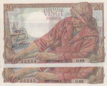 France 20 Francs Pêcheur - 28-01-1943 Série O.66 paire de n° consécutifs