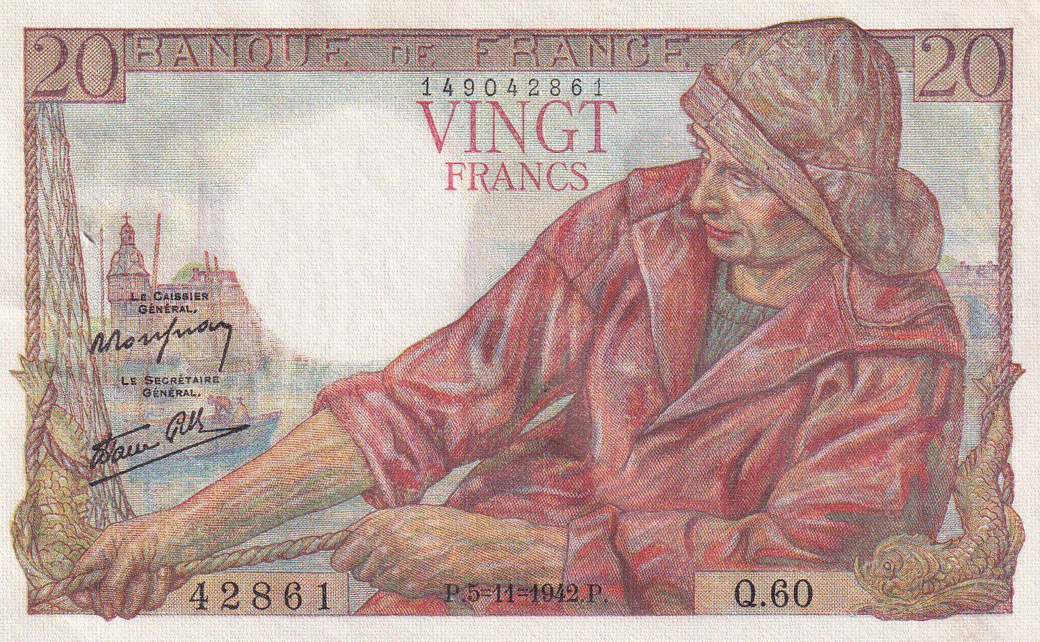 France 20 Francs Pêcheur 05-11-1942 - Série Q.60 - SUP