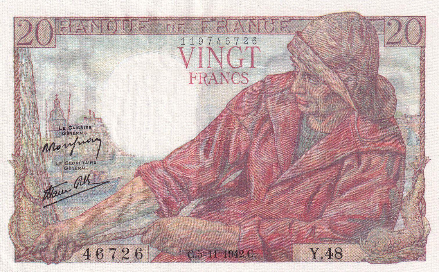 France 20 Francs Pêcheur 05-11-1942 - Série Y.48 - SUP
