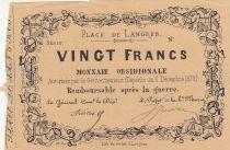 France 20 Francs Place des Langres - 1870 - Monnaie Obsidionale