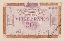 France 20 Francs Régie des chemins de Fer - 1923 - Spécimen Série OO