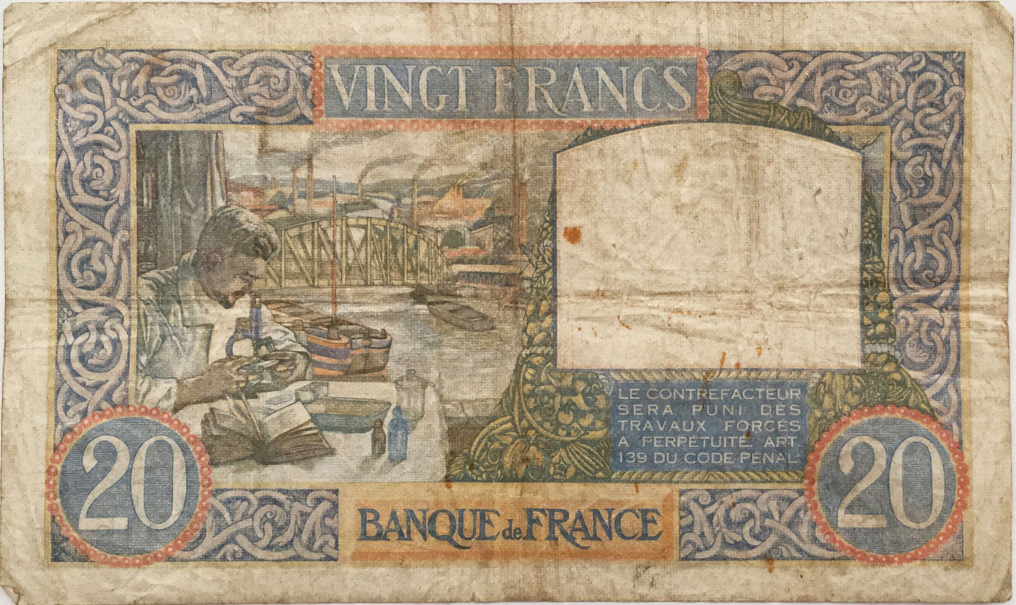 France 20 Francs Science and Industry - 07-12-1939 Serial K.250 - F