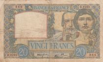 France 20 Francs Science and Industry - 19-12-1940 Serial D.2395 - Fine +