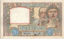 France 20 Francs Science and Industry - 22-08-1940 Serial X.959