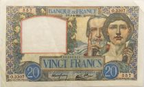 France 20 Francs Science and Labour - 03-04-1941 Serial O.3307 - VF