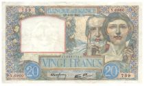 France 20 Francs Science and Labour - 04-12-1941 Serial Y.6960 - VF+