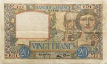 France 20 Francs Science and Labour - 06-06-1940 Serial P.451 - VF