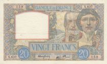 France 20 Francs Science and Labour - 11-07-1940 Serial X.637 - VF+