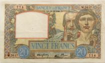 France 20 Francs Science and Labour - 19-12-1940 Serial W.2617 - VF