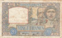France 20 Francs Science et Travail - 01-08-1940 Série D.790 - TB