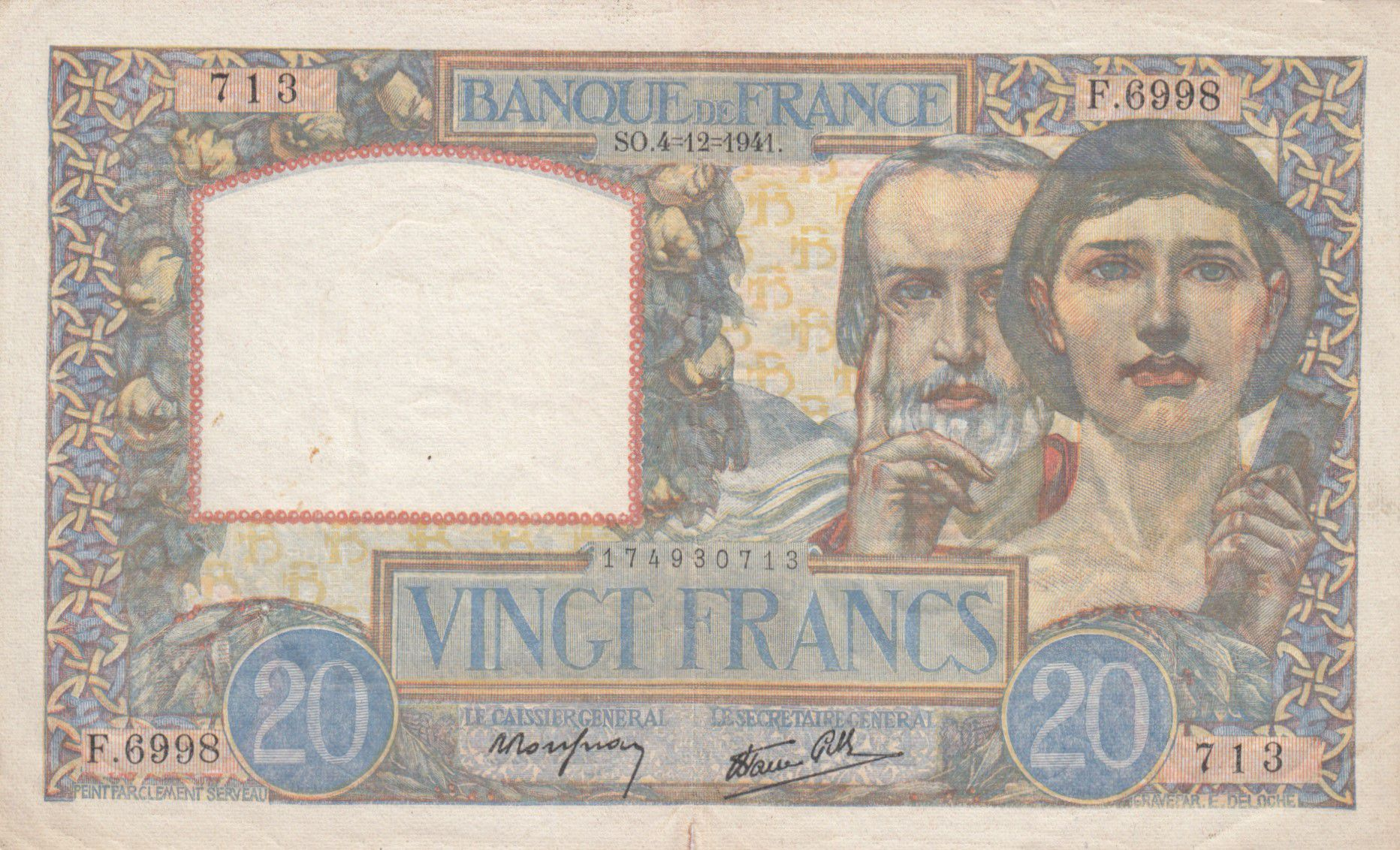 France 20 Francs Science et Travail - 04-12-1941 Série F.6998 - TTB