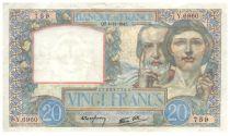 France 20 Francs Science et Travail - 04-12-1941 Série Y.6960 - TTB+