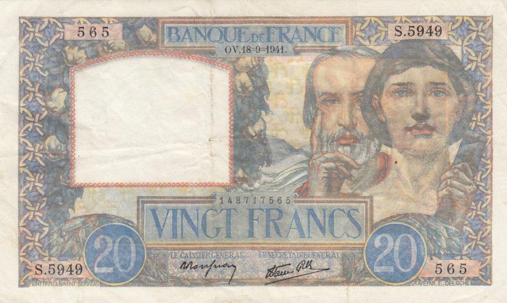 France 20 Francs Science et Travail - 18-09-1941 Série S.5949 - TTB