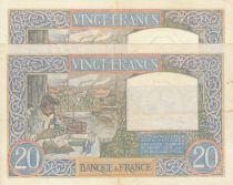 France 20 Francs Science et Travail - 22-08-1940 paire de n° consécutifs