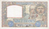 France 20 Francs Science et Travail - 22-08-1940 Série F.916
