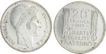 France 20 Francs Turin - 1933 Argent Variété RAMEAUX COURTS