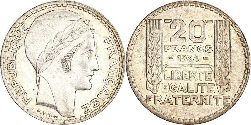 France 20 Francs Turin - 1934