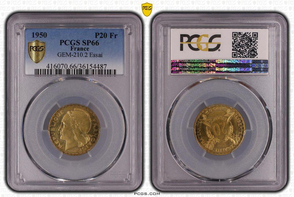 France 20 Francs Turin - 1950 - Essai - PCGS SP 65
