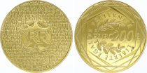 France 200 Euro Or - France 2012 -   UNC - Gold