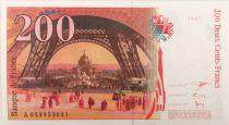 France 200 Francs Gustave Eiffel 1997 - Eiffel Tower - Serial A.053 - AU