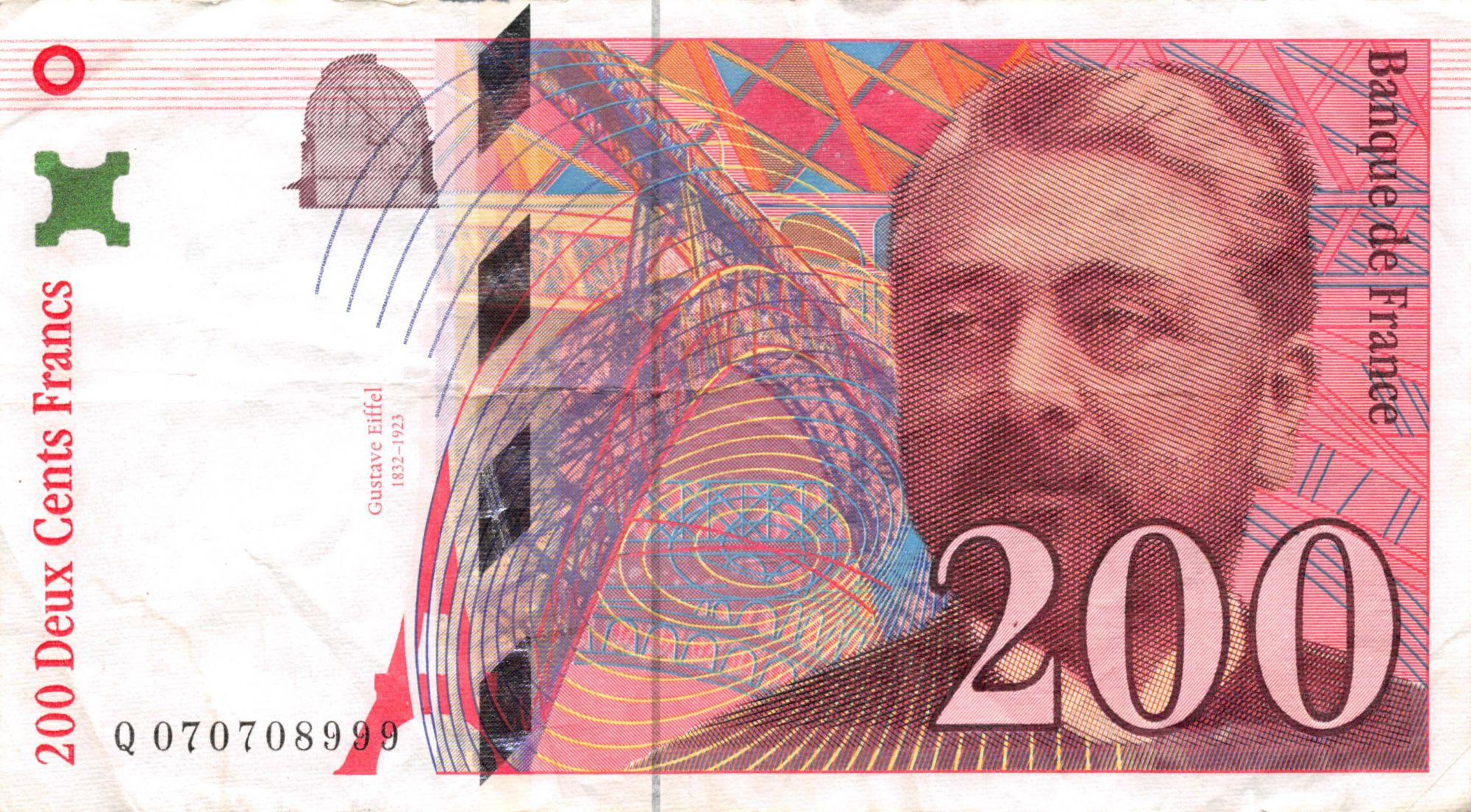 France 200 Francs Gustave Eiffel 1997 - Eiffel Tower - Various serials - VF
