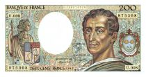 France 200 Francs Montesquieu - 1981 - Serial U.008 - aUNC