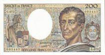 France 200 Francs Montesquieu - 1989 - Serial G.072 - UNC