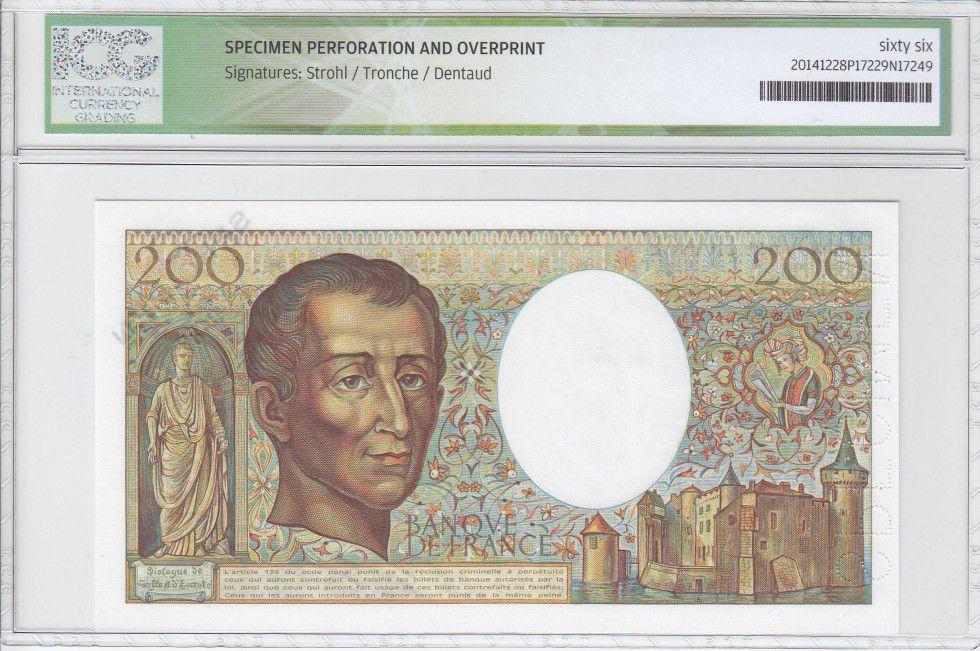 France 200 Francs Montesquieu - Spécimen - 1981