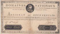 France 200 Livres Bust of Louis XVI - 19-06 et 12-09-1791 Serial C - Sign. Boizot - F