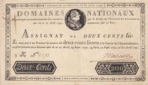 France 200 Livres Bust of Louis XVI - 30-04-1792 - Serial 2K - Sign. Marcilly - VF+