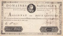 France 200 Livres Bust of Louis XVI - 31-08-1792 - Serial B - VF+ - Sign. Reboul